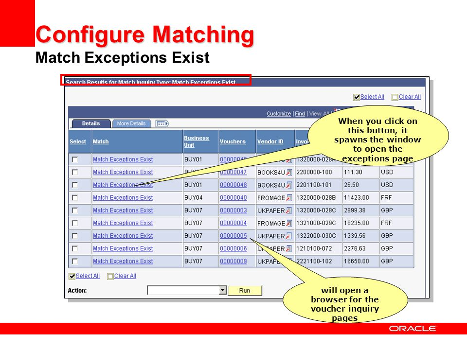 Configure Matching Match Exceptions Exist