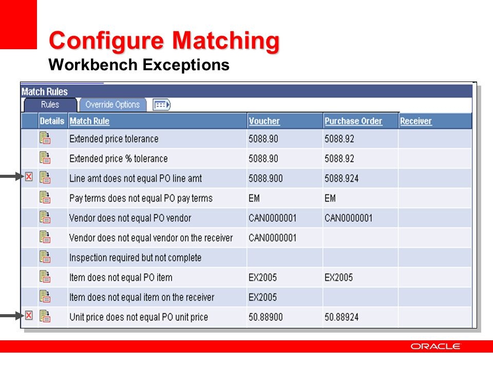 Configure Matching Workbench Exceptions