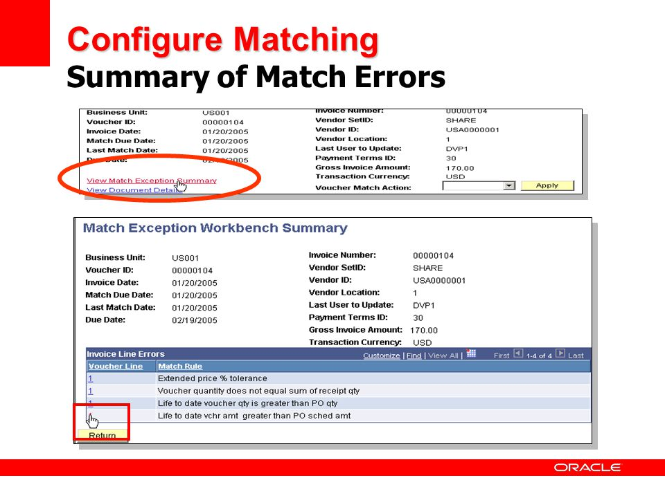 Configure Matching Summary of Match Errors