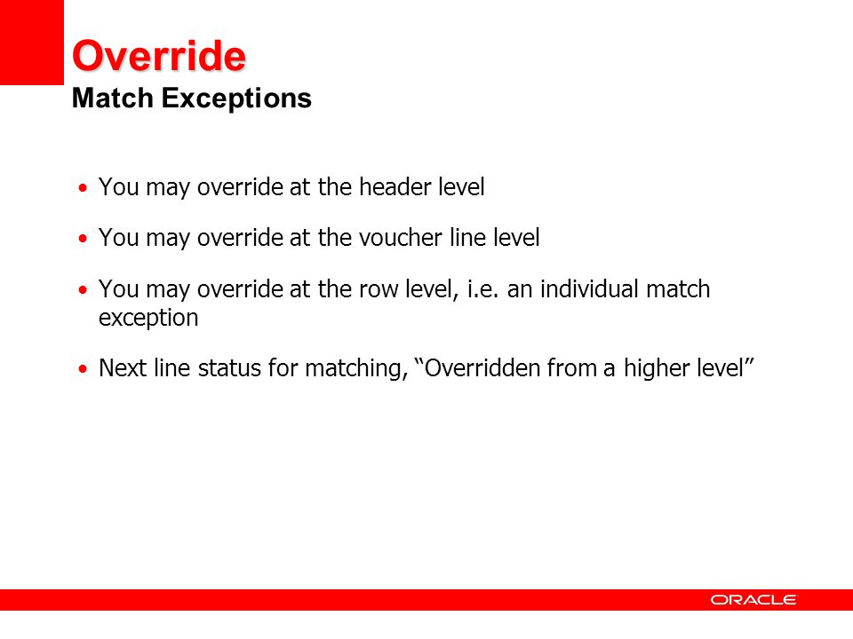 Override Match Exceptions