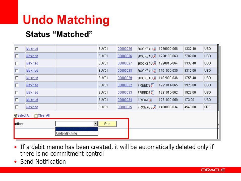 Undo Matching Status Matched