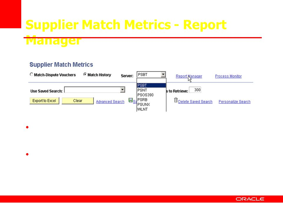 Supplier Match Metrics - Report Manager
