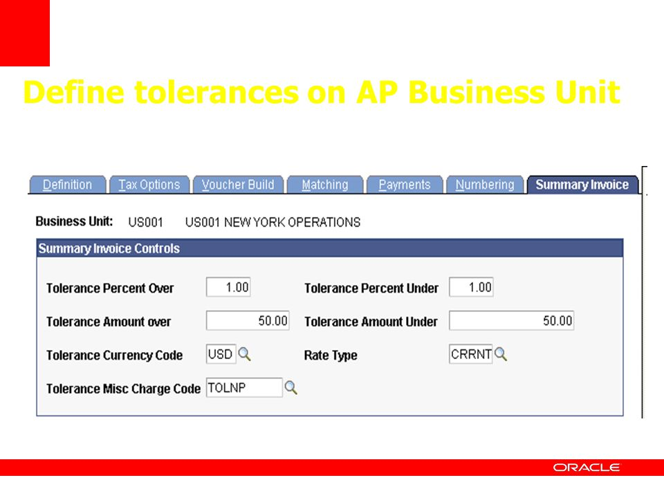 Define tolerances on AP Business Unit