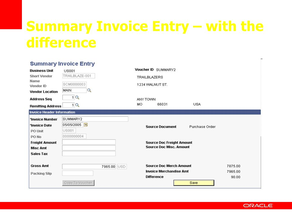 Summary Invoice Entry – with the difference