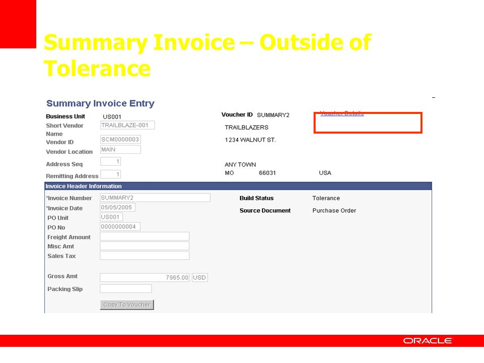 Summary Invoice – Outside of Tolerance