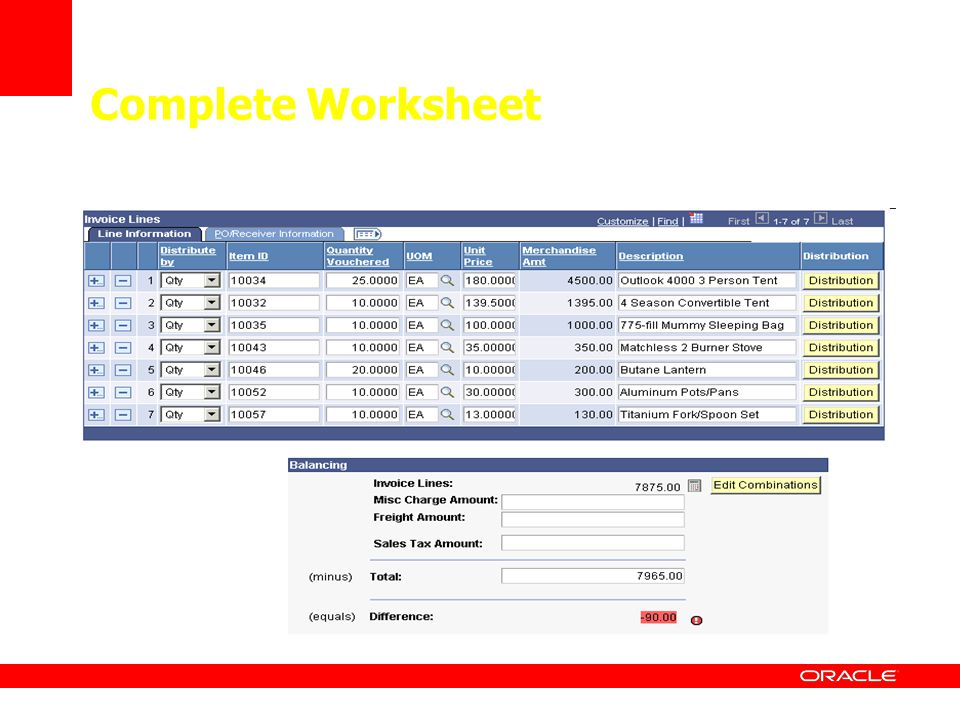 Complete Worksheet