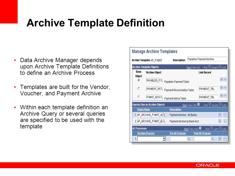 Archive Template Definition