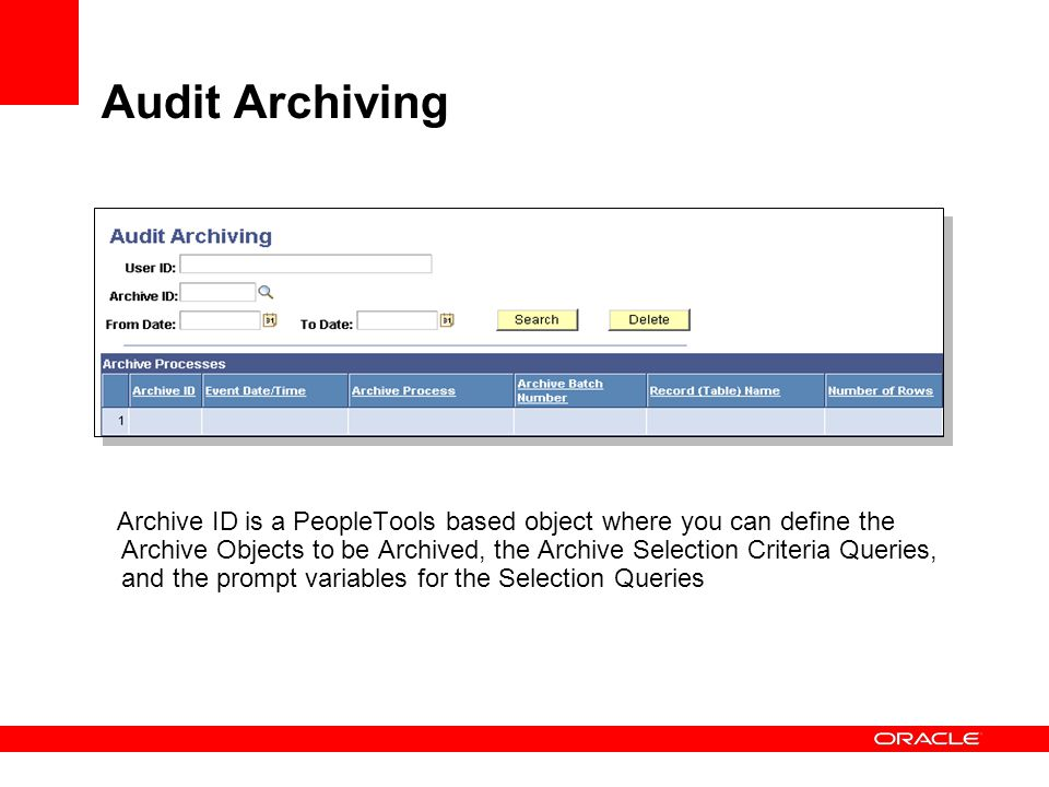Audit Archiving .