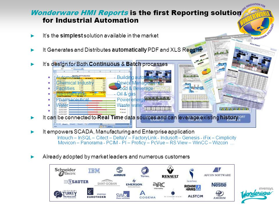 Wonderware HMI Reports is the first Reporting solution for Industrial Automation
