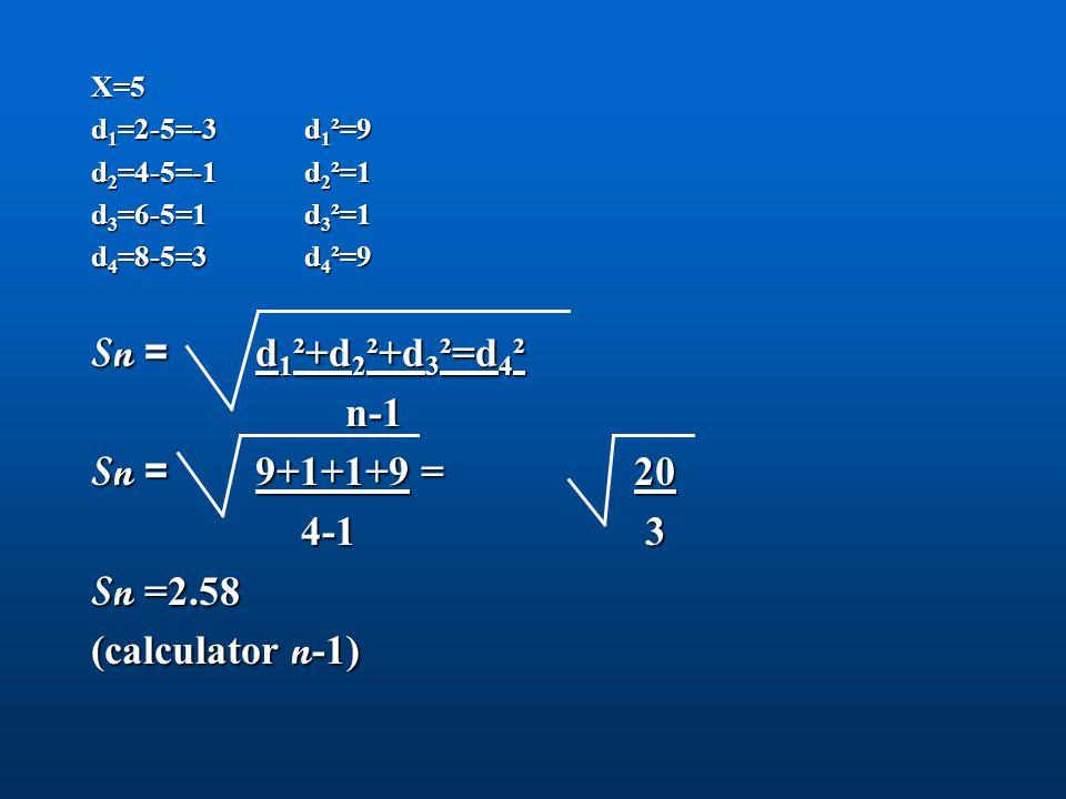 Sn = d1²+d2²+d3²=d4² n-1 Sn = 9+1+1+9 = 20 4-1 3 Sn =2.58