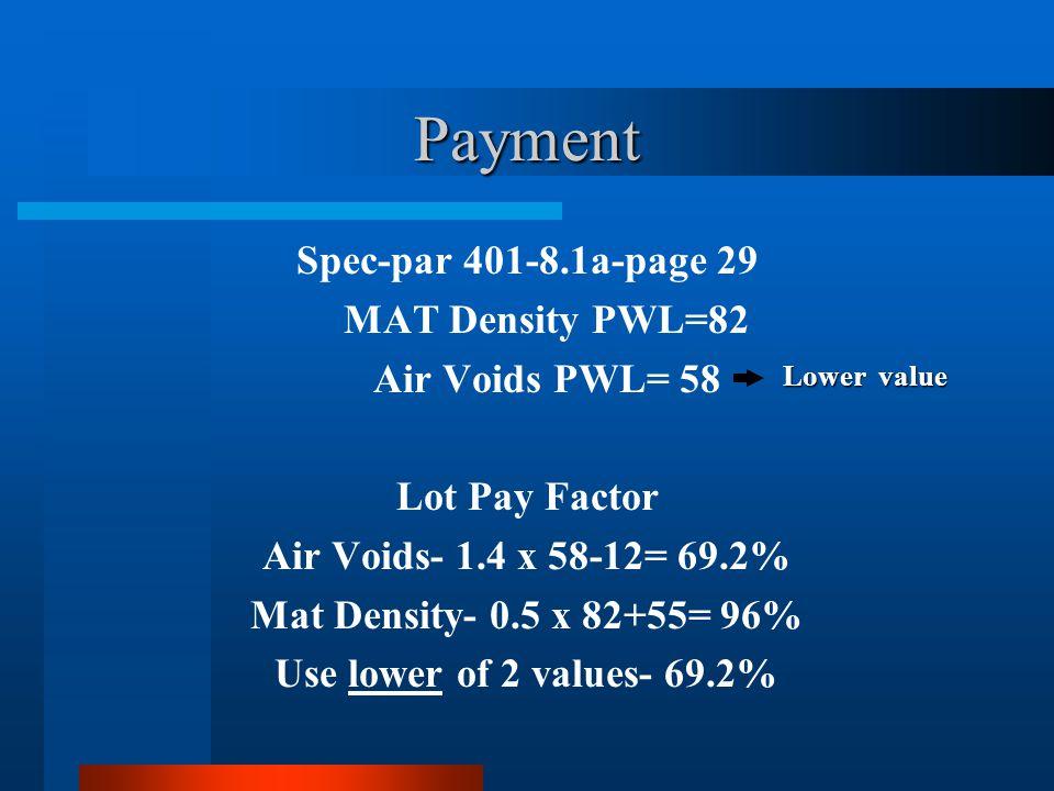 Payment Spec-par 401-8.1a-page 29 MAT Density PWL=82 Air Voids PWL= 58