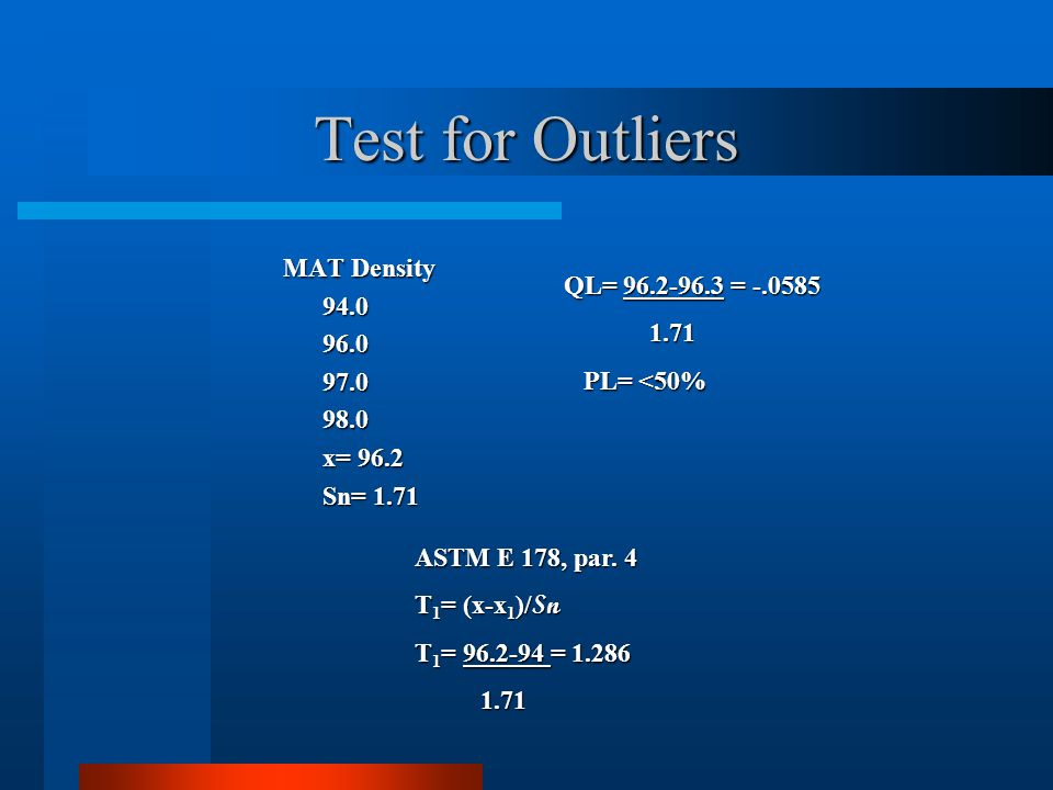 Test for Outliers MAT Density 94.0 QL= 96.2-96.3 = -.0585 96.0 1.71