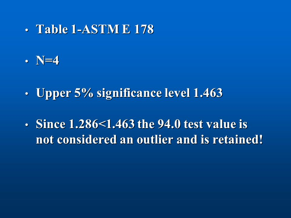 Table 1-ASTM E 178 N=4. Upper 5% significance level 1.463.