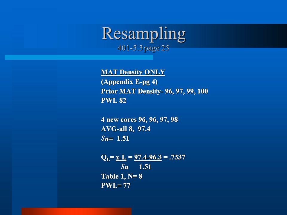 Resampling 401-5.3 page 25 MAT Density ONLY (Appendix E-pg 4)