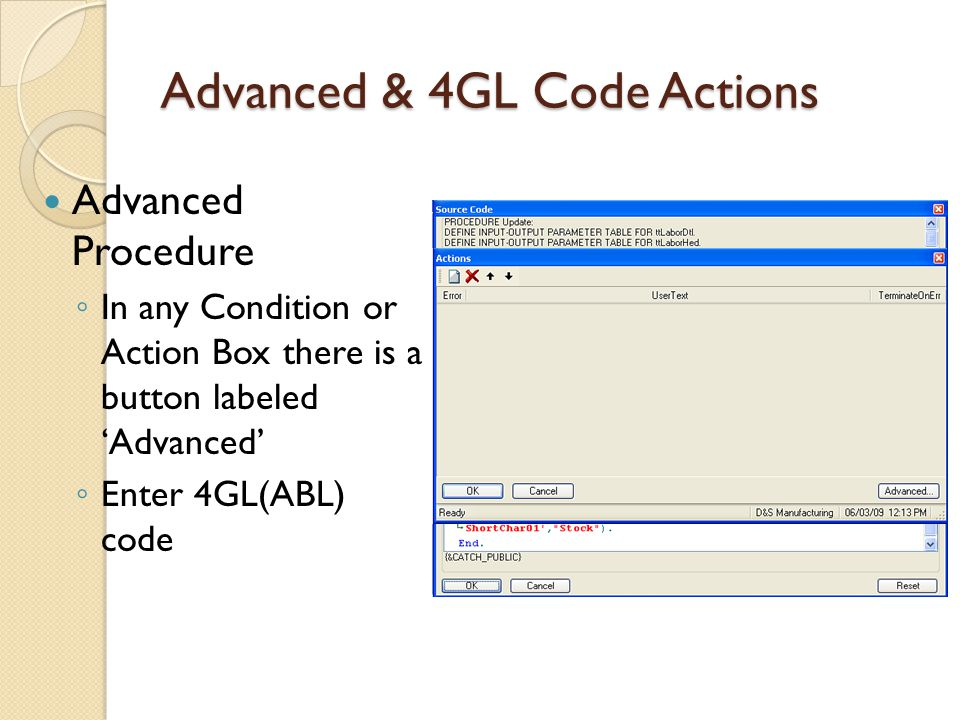 Advanced & 4GL Code Actions