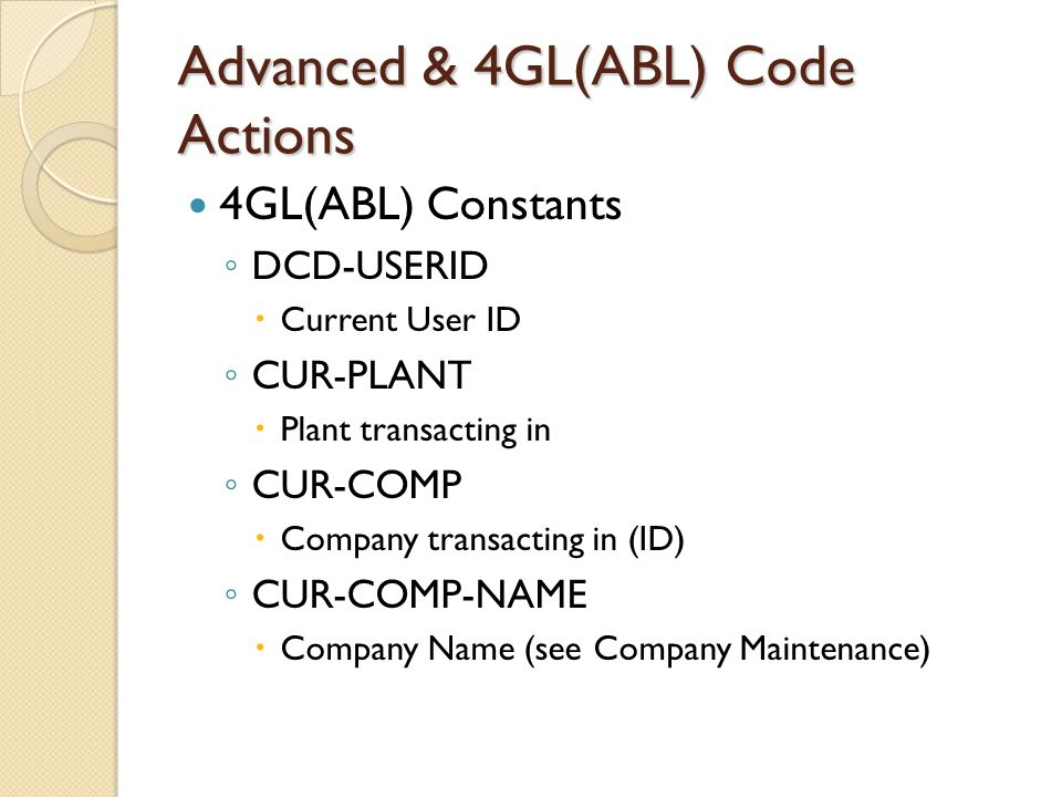 Advanced & 4GL(ABL) Code Actions