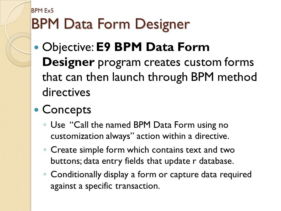 BPM Ex5 BPM Data Form Designer