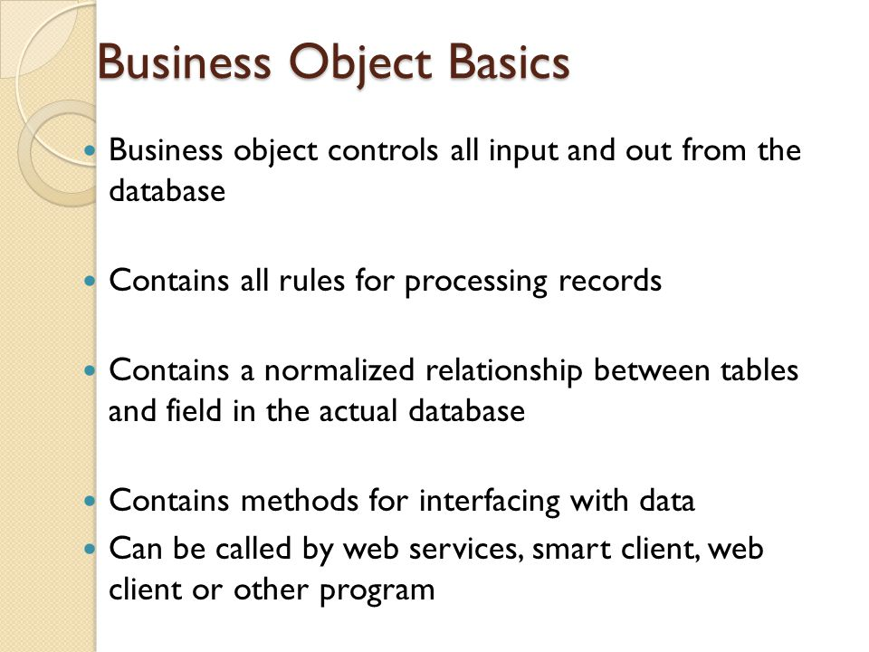 Business Object Basics