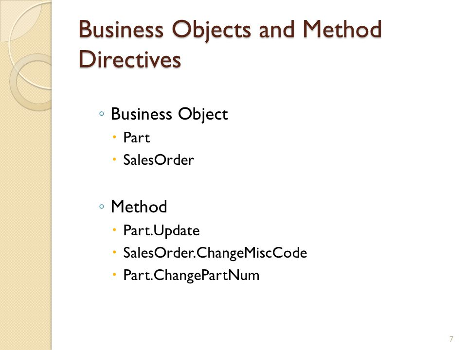 Business Objects and Method Directives