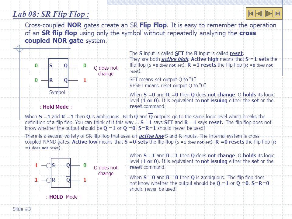 Lab 08: SR Flip Flop :