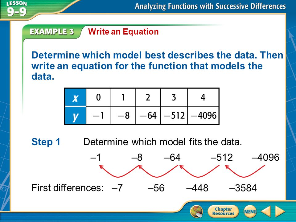Step 1 Determine which model fits the data.