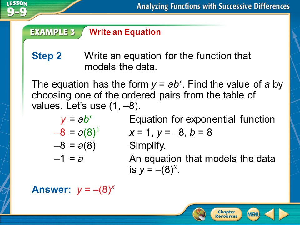 Step 2 Write an equation for the function that models the data.