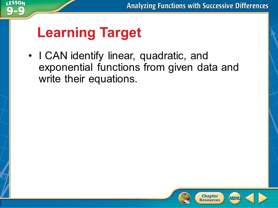 Learning Target I CAN identify linear, quadratic, and exponential functions from given data and write their equations.