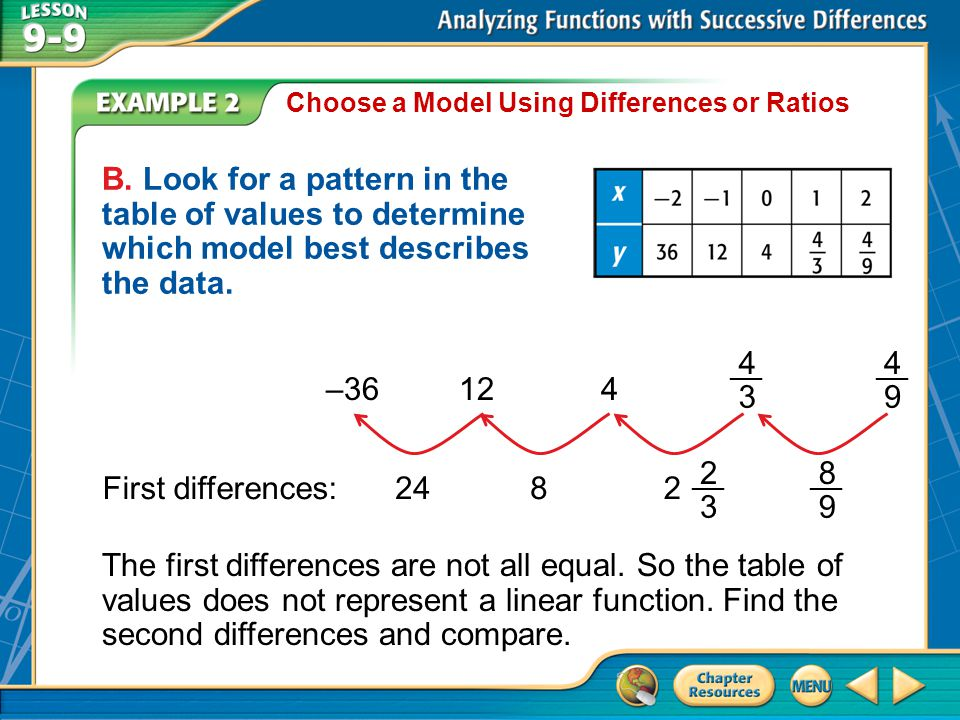 Choose a Model Using Differences or Ratios