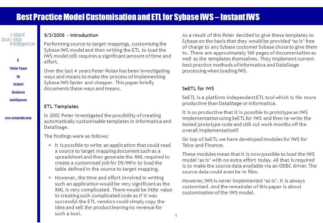 etl requirements template - best practice model customisation and etl for sybase iws