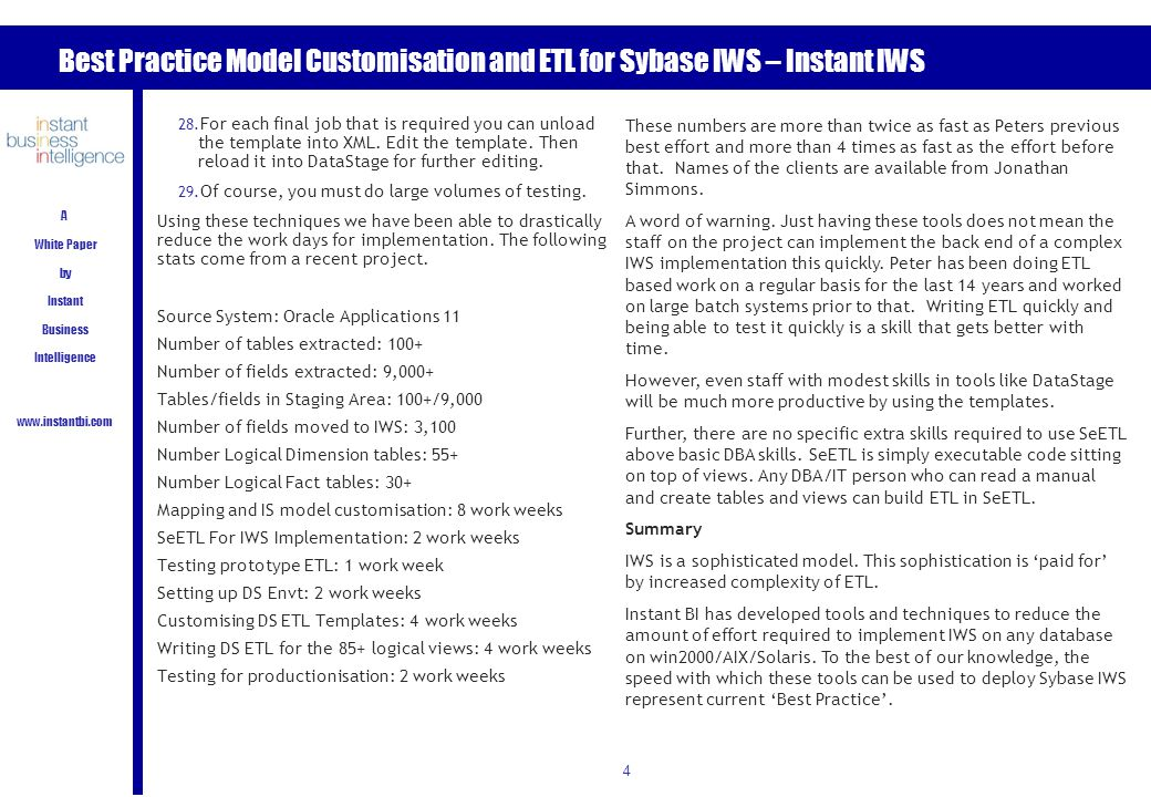 Best Practice Model Customisation and ETL for Sybase IWS – Instant IWS