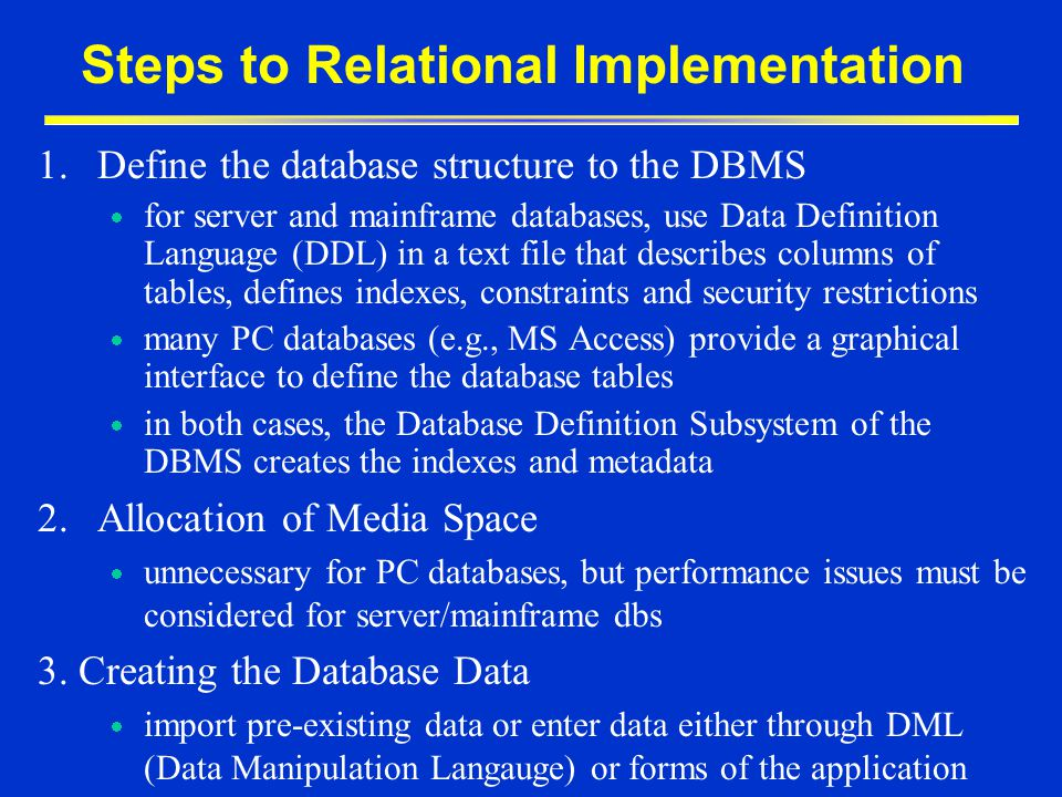 Steps to Relational Implementation