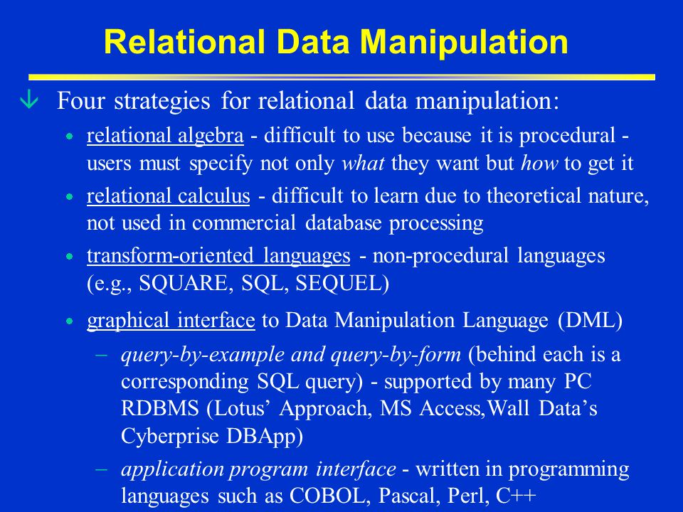 Relational Data Manipulation