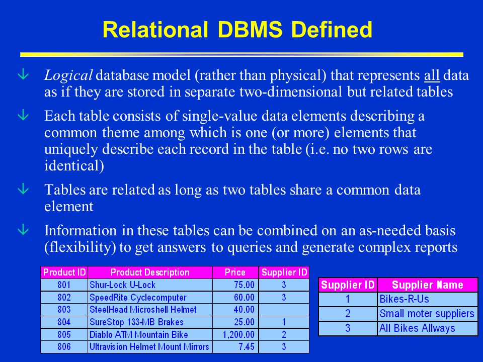 Relational DBMS Defined