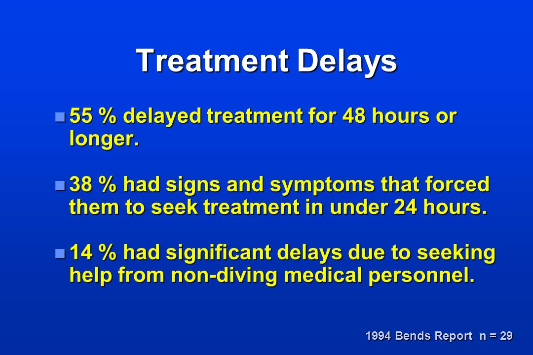 Treatment Delays 55 % delayed treatment for 48 hours or longer.