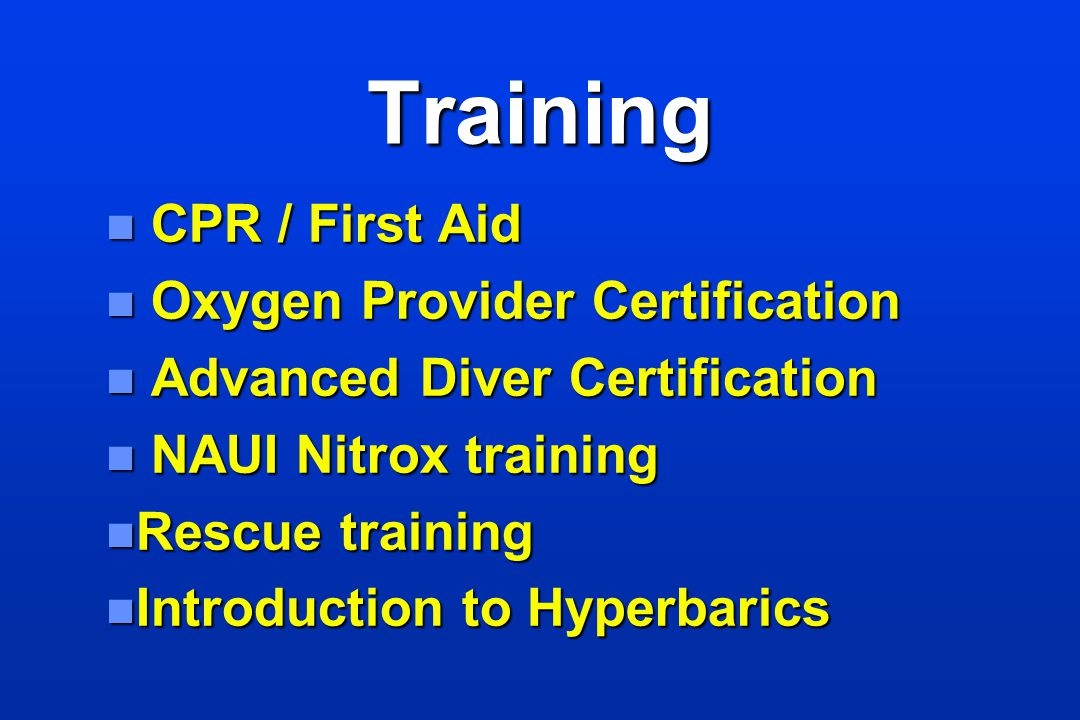 Training CPR / First Aid Oxygen Provider Certification