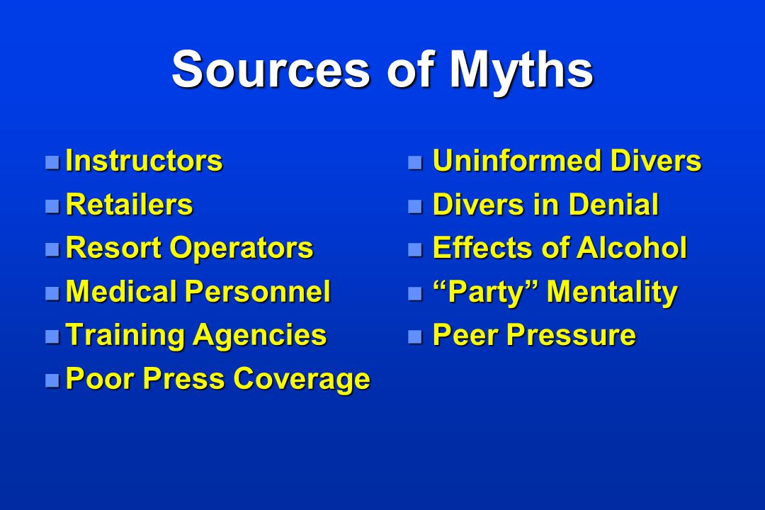 Sources of Myths Instructors Retailers Resort Operators
