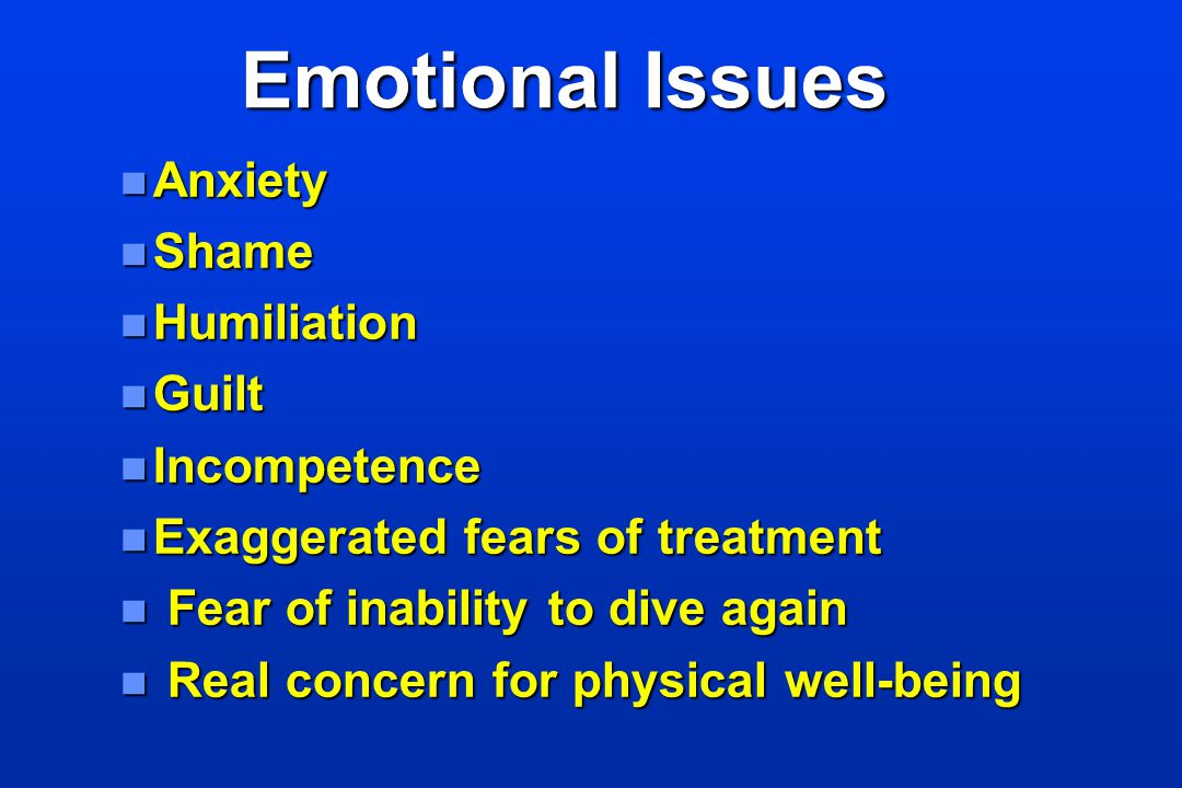 Emotional Issues Anxiety Shame Humiliation Guilt Incompetence