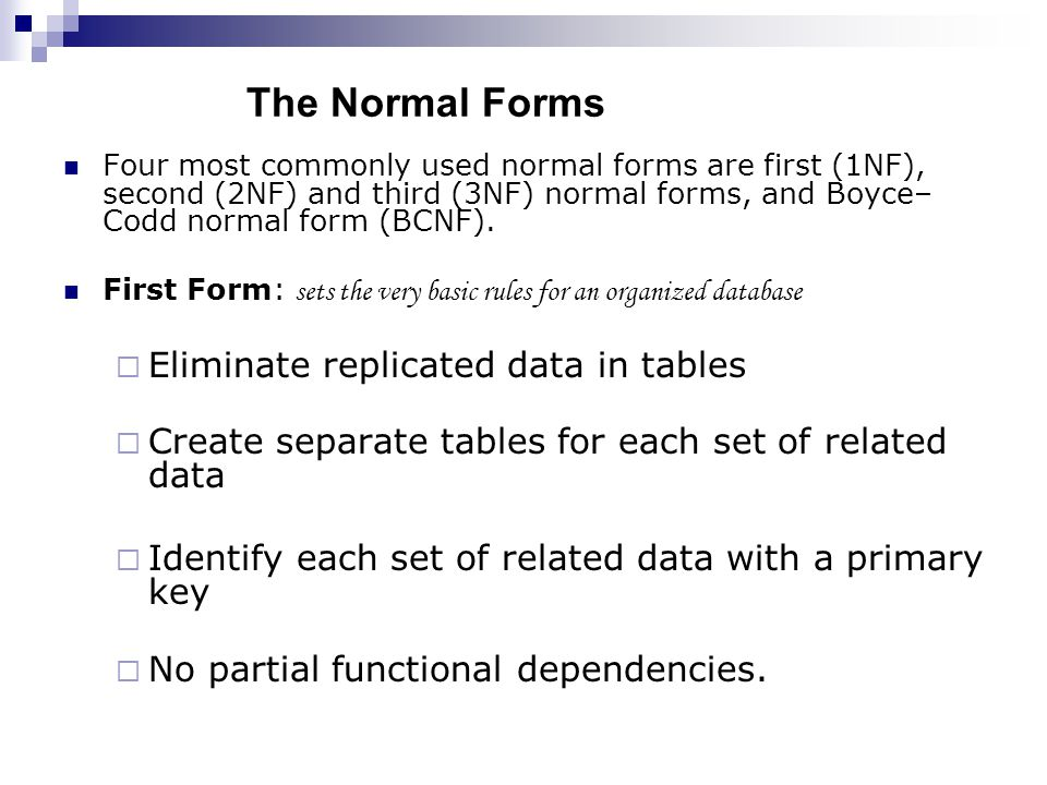 The Normal Forms Eliminate replicated data in tables