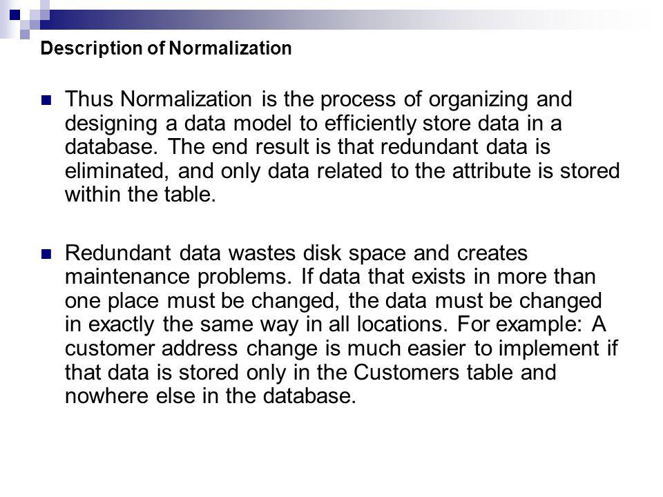 Description of Normalization