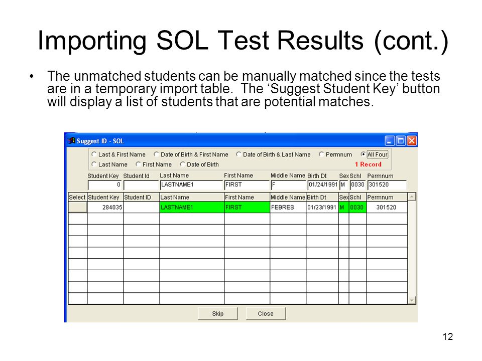 Importing SOL Test Results (cont.)