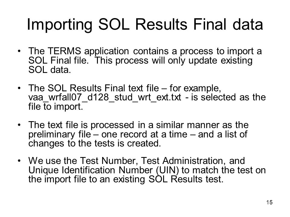 Importing SOL Results Final data