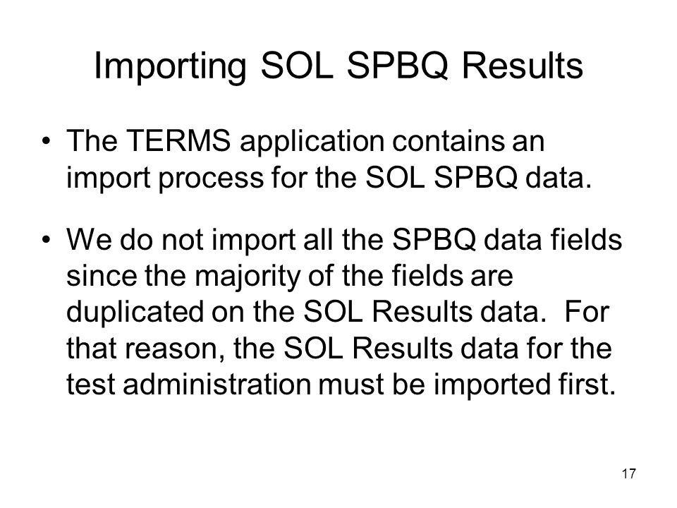 Importing SOL SPBQ Results