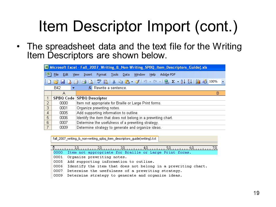 Item Descriptor Import (cont.)