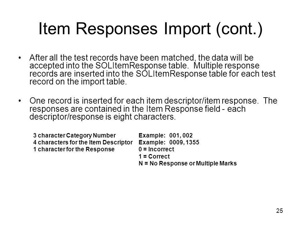 Item Responses Import (cont.)