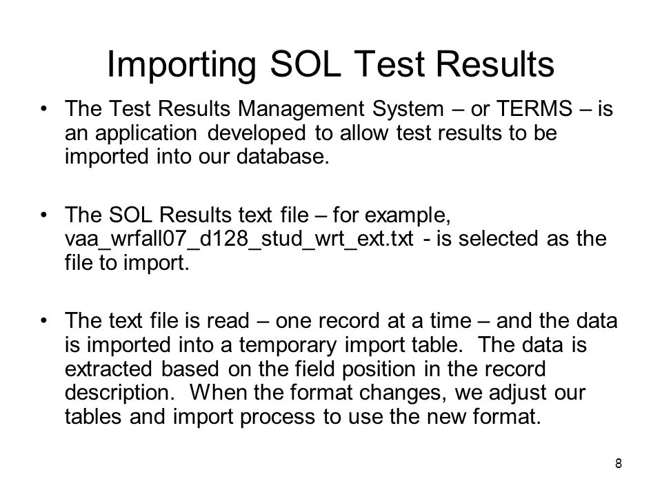 Importing SOL Test Results