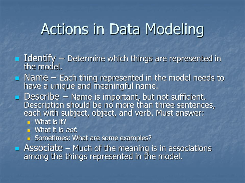 Actions in Data Modeling
