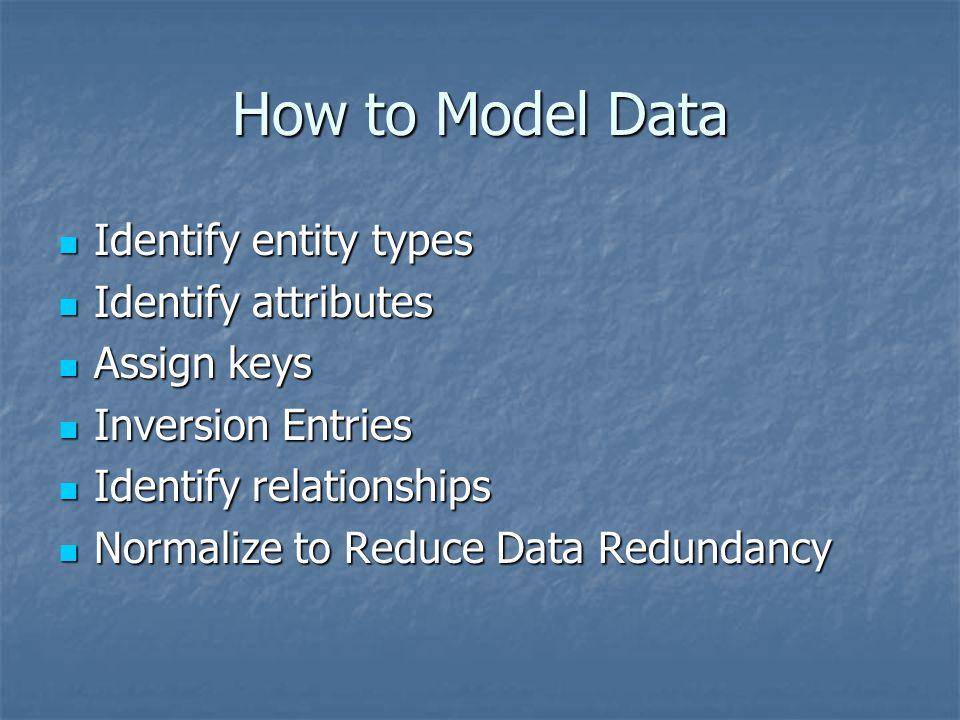 How to Model Data Identify entity types Identify attributes