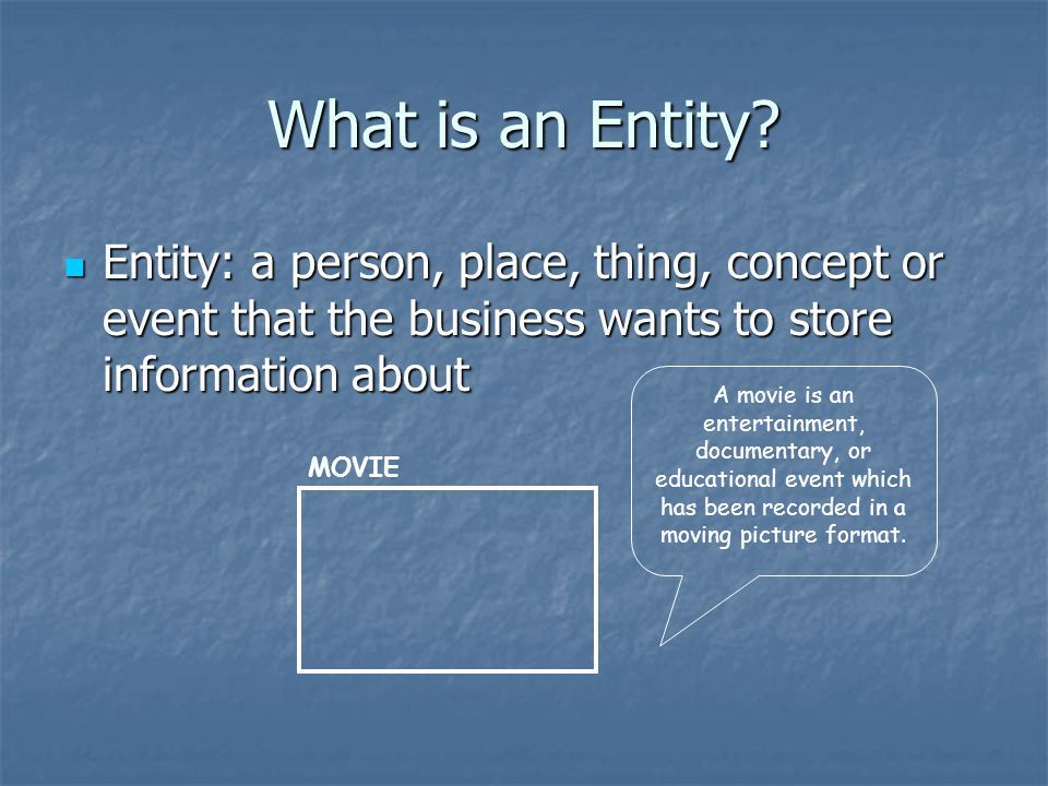 What is an Entity Entity: a person, place, thing, concept or event that the business wants to store information about.