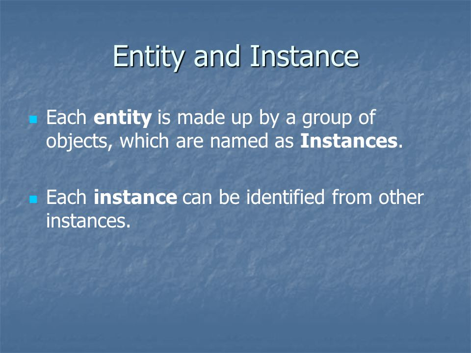 Entity and Instance Each entity is made up by a group of objects, which are named as Instances.