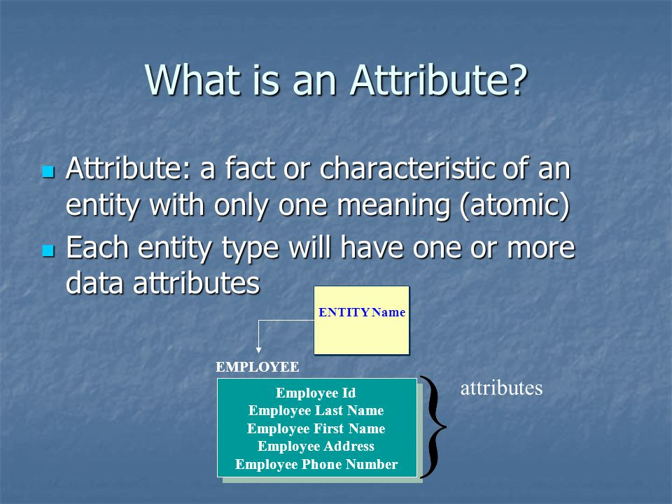What is an Attribute Attribute: a fact or characteristic of an entity with only one meaning (atomic)